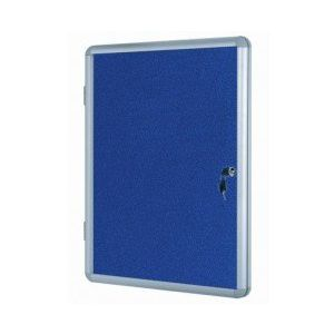 Lockable Notice Board - Blue Felt - 600x450mm Aluminium Frame