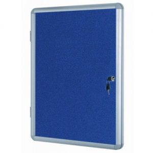 Lockable Notice Board - Blue Felt - 1200x900mm Aluminium Frame