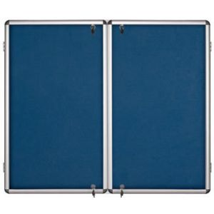 Lockable Notice Board - Blue Felt - 2 Doors - 1800x1200mm Aluminium Frame